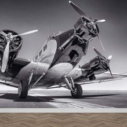Fotobehang Propeller vliegtuig zwartwit