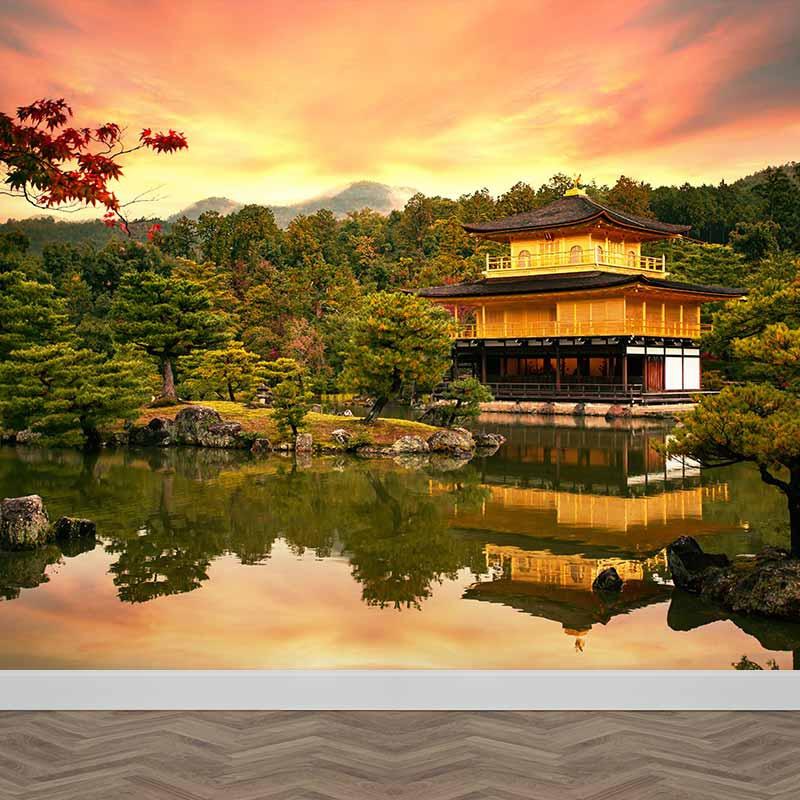 Fotobehang Japanse tuin in avondschemer