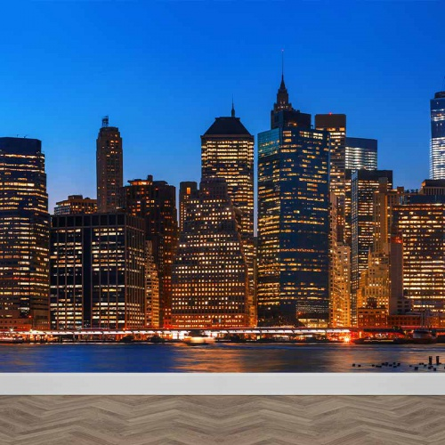 Fotobehang New York in avondschemer