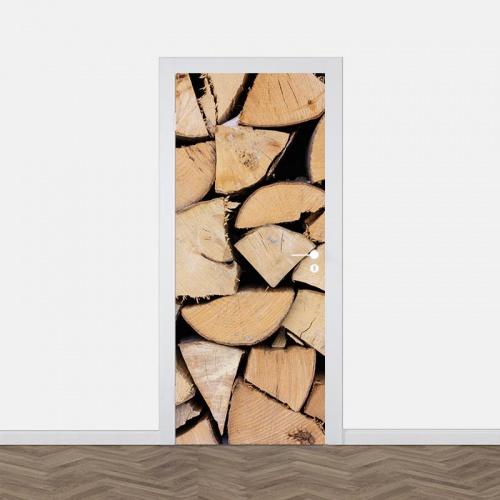 Deursticker Opgestapeld hout