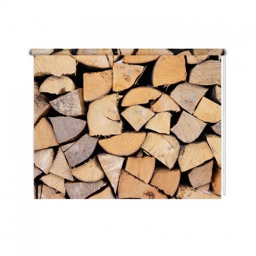 Rolgordijn opgestapeld hout