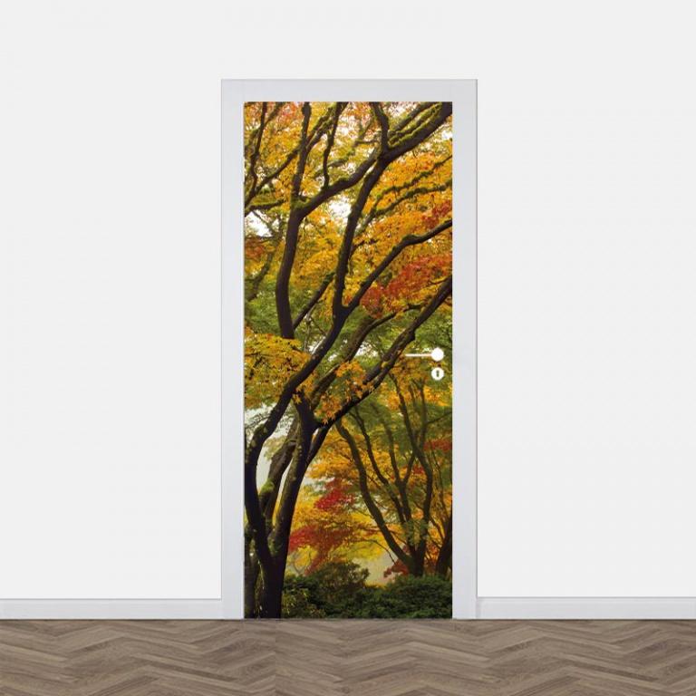 Deursticker Esdoorn in herfstkleuren