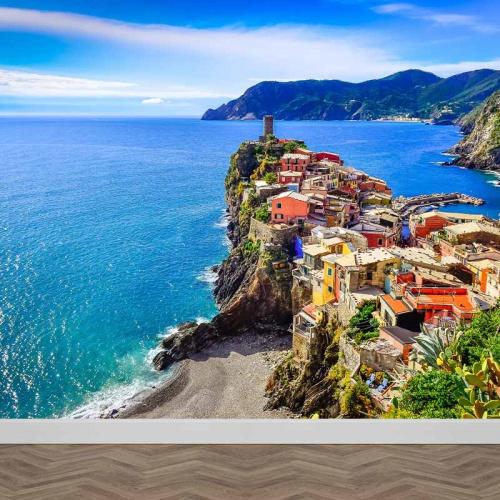 Fotobehang Cinque Terre zeezicht