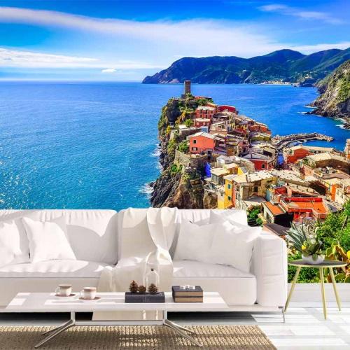 Fotobehang Cinque Terre zeezichtFotobehang Cinque Terre zeezicht