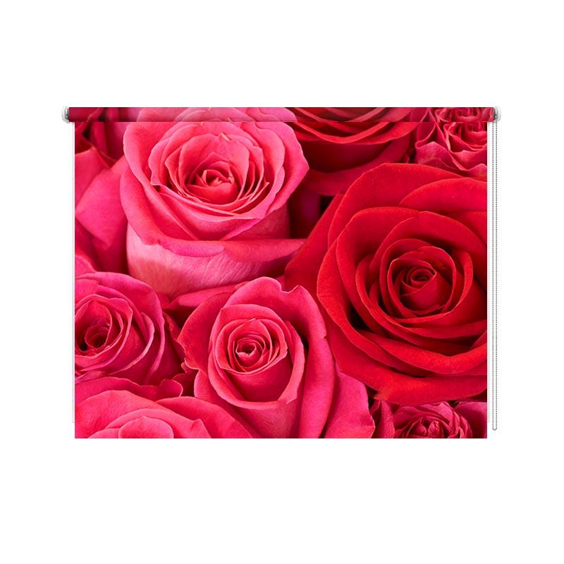 Rolgordijn Roze en rode rozen