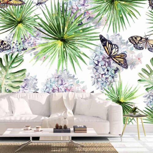 Fotobehang Vlinders en bladeren aquarel