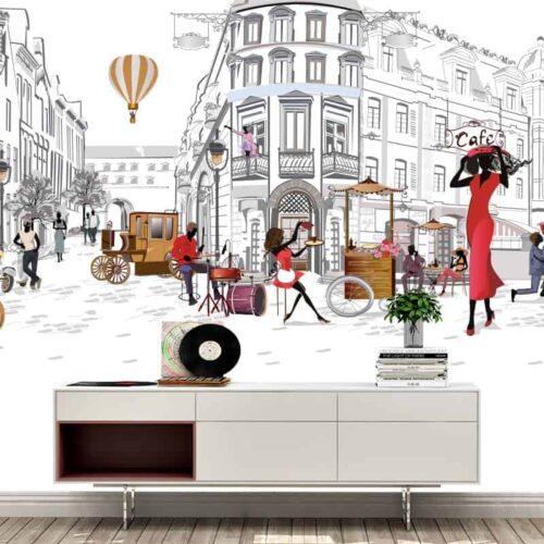Fotobehang Parijs illustratie