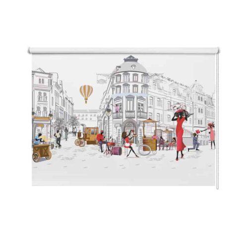 Rolgordijn Parijs illustratie