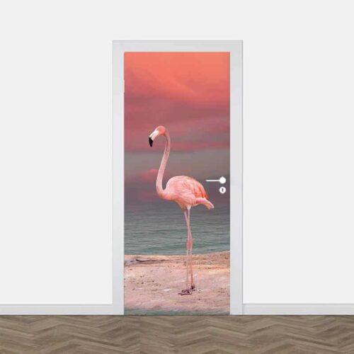 Deursticker Flamingo aan oever