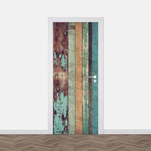Deursticker Vintage houten planken 2