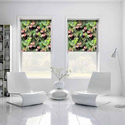 Rolgordijn Botanische jungle patroon 1