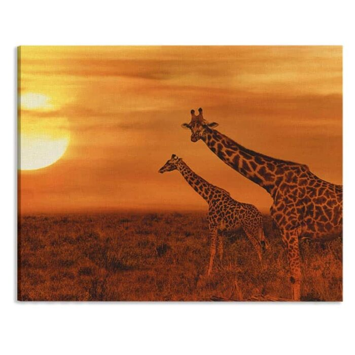 Canvas Giraffen in de avondschemer