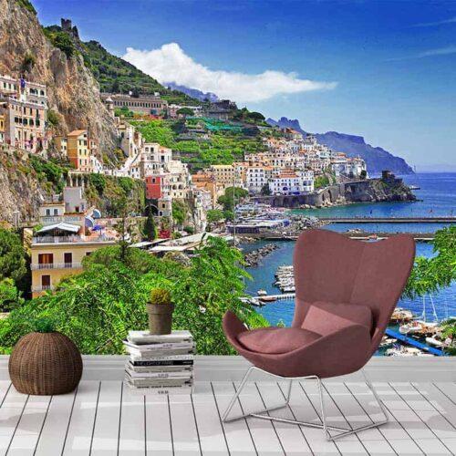 Fotobehang Italiaans dorp aan Middellandse zee