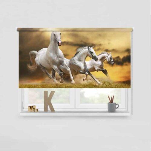 Rolgordijn Witte paarden in galop