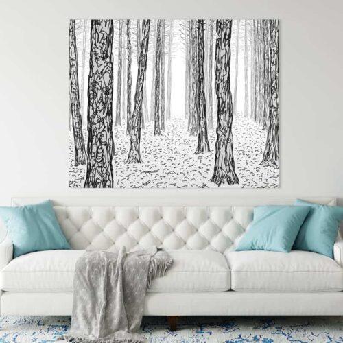 Canvas Geschetste bomen