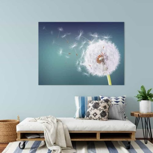 Canvas Dandelion in de wind