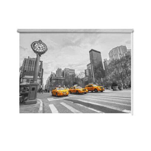 Rolgordijn New York taxi op een rij