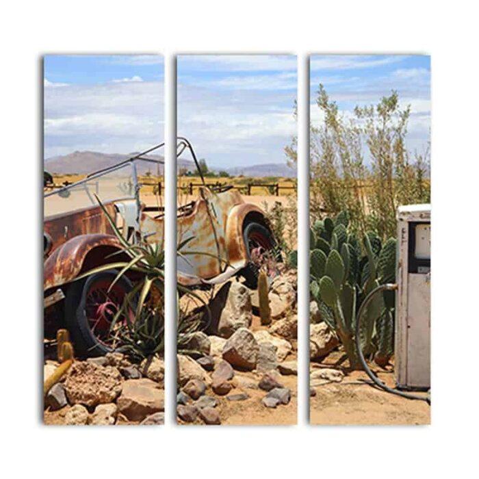 Drieluik canvas Vintage auto bij benzinepomp