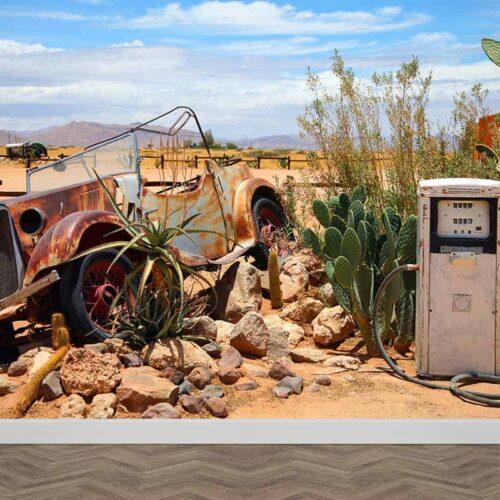 Fotobehang Vintage auto bij benzinepomp