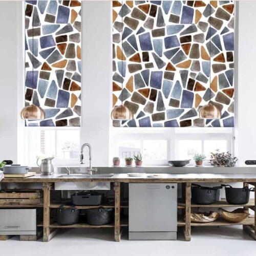 Rolgordijn Mozaik aquarel