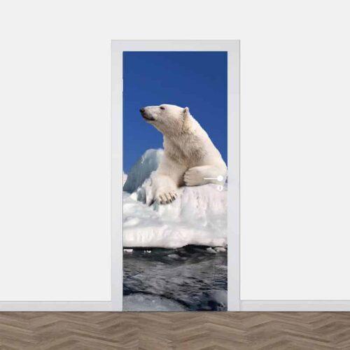 Deursticker IJsbeer op ijsschots