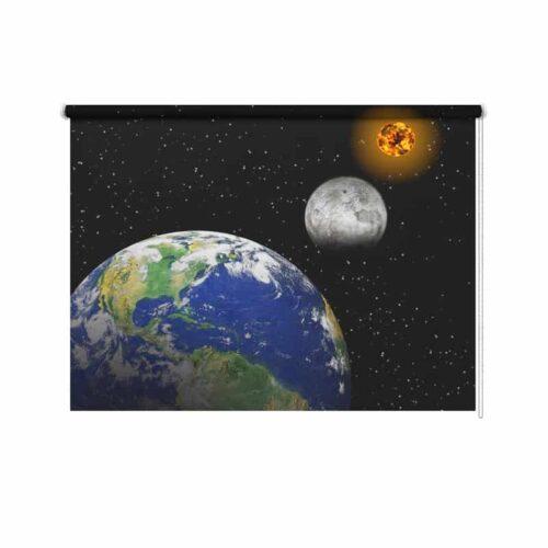 Rolgordijn Zon maan aarde