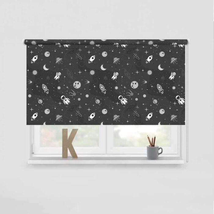Rolgordijn In de ruimte grijs