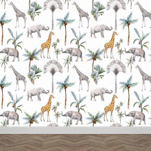 Fotobehang Olifanten en giraffen patroon