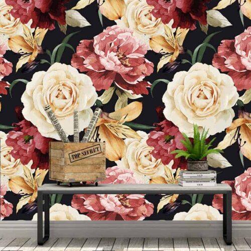 Fotobehang Botanische rozen patroon