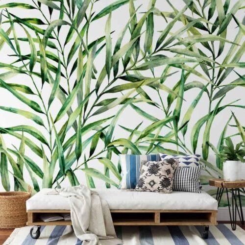 Fotobehang Tropische bladeren patroon 8