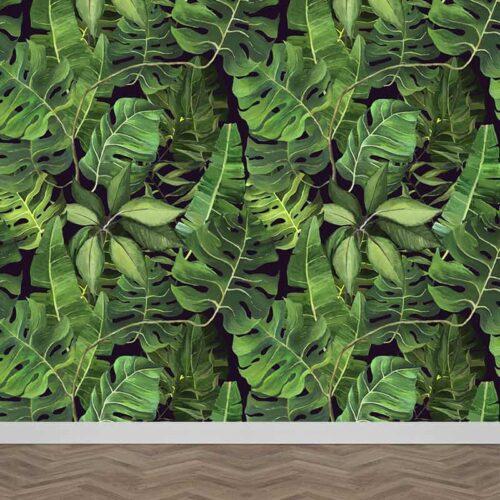 Fotobehang Tropische bladeren patroon 7