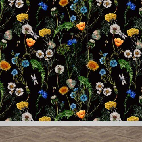Fotobehang Veldbloemen patroon