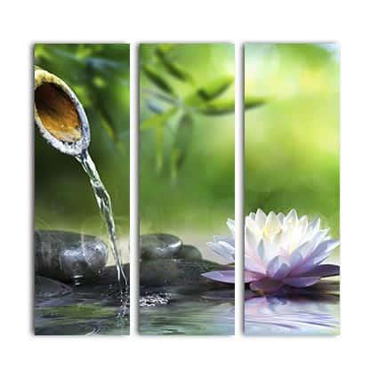 3 luik canvas Rustgevende waterpartij