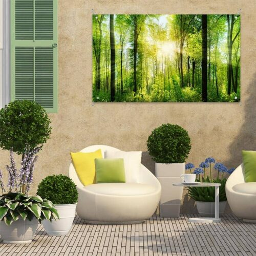 Tuinposter zon in bos