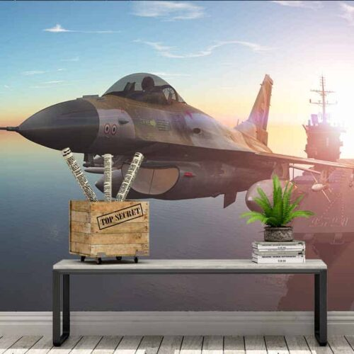 Fotobehang Straaljager met vliegdekschip