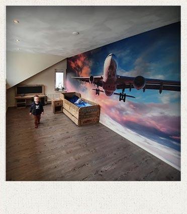 Foto klant Vliegtuig in avondschemer