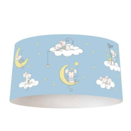 Lampenkap Muisjes op wolk en maan blauw