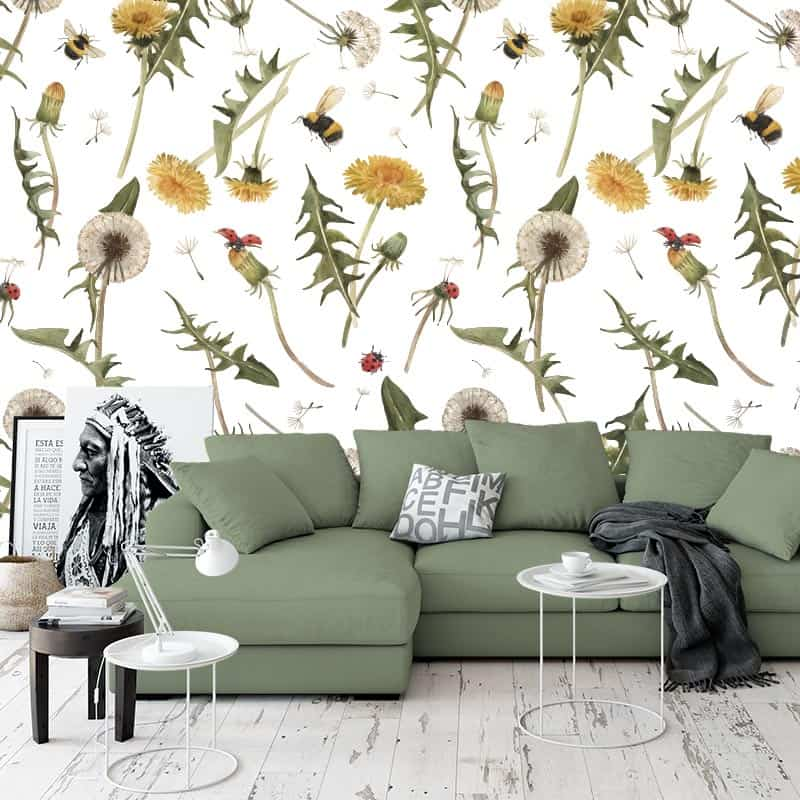 Fotobehang Veldbloemen patroon 2