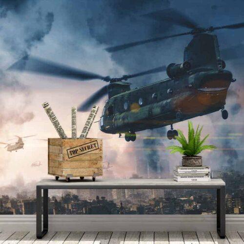 Fotobehang Helikopters boven de stad