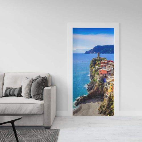 Deursticker Cinque Terre zeezicht
