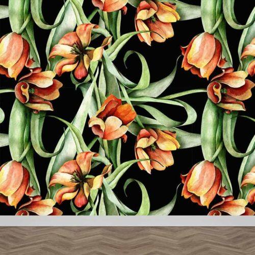 Fotobehang Botanische tulpen patroon