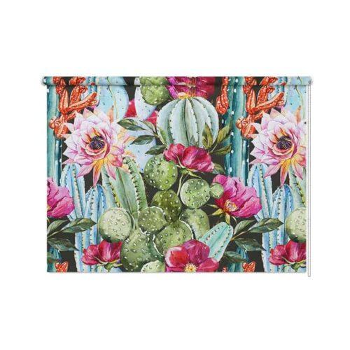 Rolgordijn Botanische cactus en bloemen
