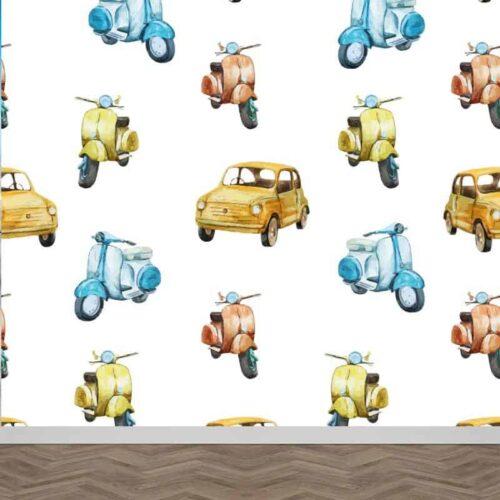 Fotobehang Fiat Vespa patroon