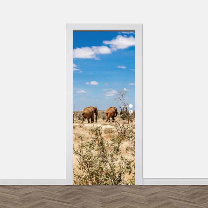 Deursticker Olifanten in Afrika