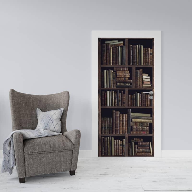 Deursticker Oude boekenkast