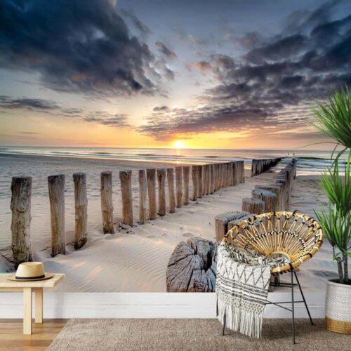 Fotobehang Golfbrekers aan de kust