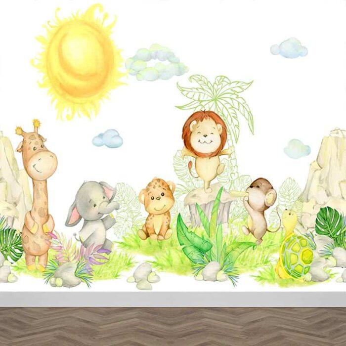 Fotobehang Happy baby animals