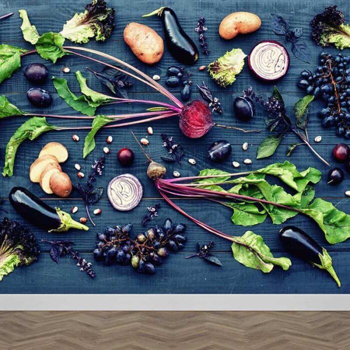 Fotobehang groente op tafel