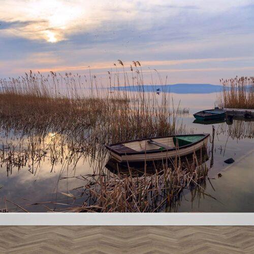 Fotobehang ochtend aan het meer