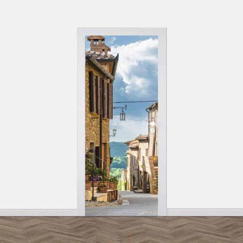 Deursticker In een Italiaans straatje